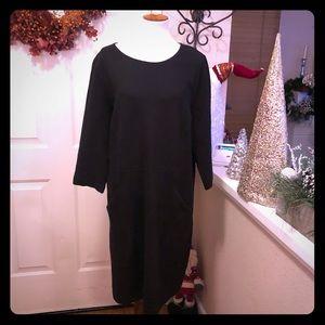 Boden Black Dress Pockets Up Front Comfy Cozy